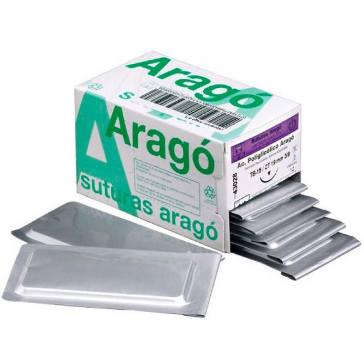 SUTURA ARAGO PGA 4 0 TB 15 CT 19MM 3 8 PGA VIOLETA ACIDO POLIGLICOLICO -